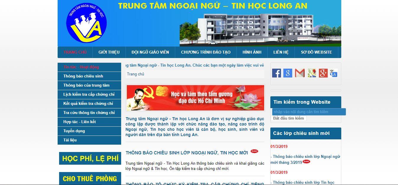 Giao diện website trung tâm ngoại ngữ - tin học.