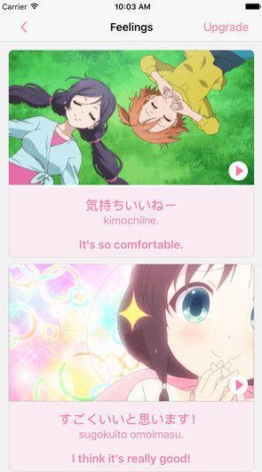 Learn Japanese Phrases through Anime - phần mềm học tiếng Nhật qua phim