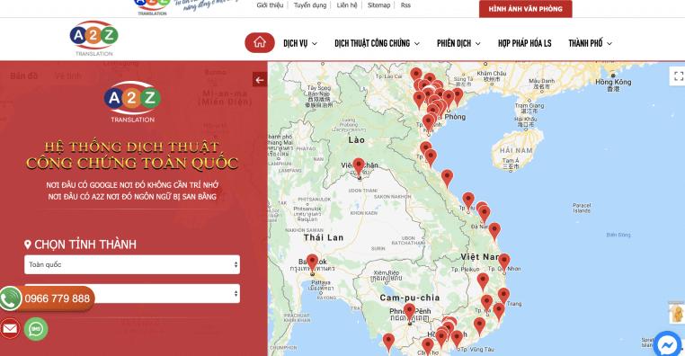 Website của công ty Dịch thuật A2Z
